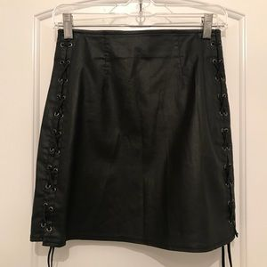 French Connection Faux Leather lace up skirt